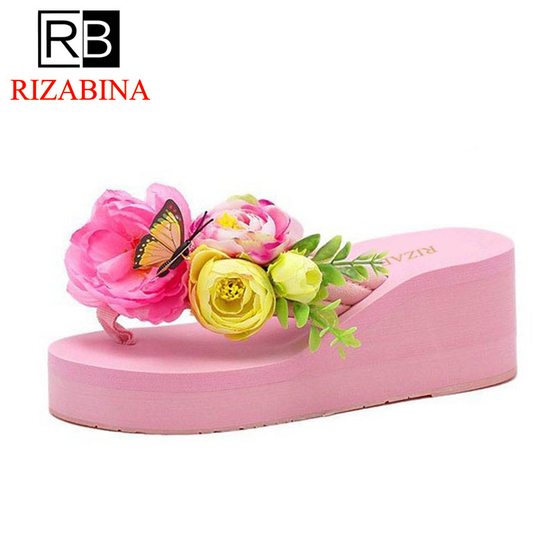 RizaBina Sexy Lady Summer Shoes Women Flower Flip Flops Thick Bottom Wedges Slippers Women Trifle Heels Shoes Size 35-39