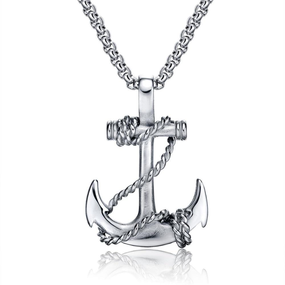 OBSEDE Punk de los hombres de titanio de acero colgantes ancla cadena Cadena de collar Cruz de las mujeres de los hombres de acero inoxidable joyería de moda negro/oro/plata regalo