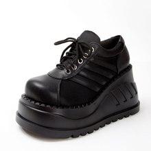 a29504175 Outono Sapatos Clássicos Mulheres Botas Moda Botas Grossas Pretas Do Punk  Gótico Rendas Até Cunha Sapatos