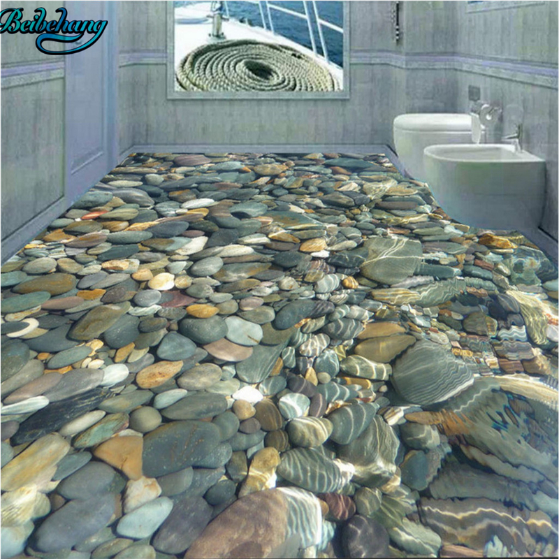 beibehang 3D realistic water pebble floor tiles decorative painting     beibehang 3D realistic water pebble floor tiles decorative painting  bathroom wallpaper mural decoration in Wallpapers from Home Improvement on