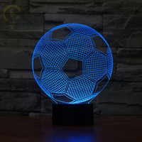 Creative Novelty Lighting 3D illusion Lamp LED Night Light Modern 3D Football Acrylic Discoloration Colorful Atmosphere Lamp