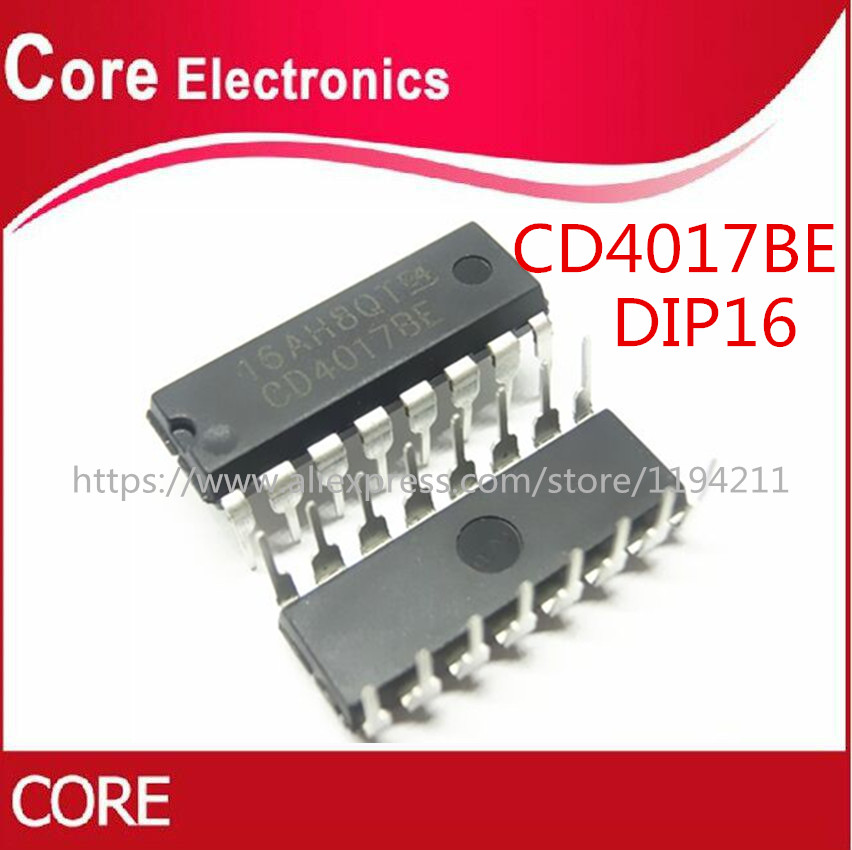 100Pcs CD4017 CD4017BE 4017 DIP-16 DECADE COUNTER DIVIDER IC