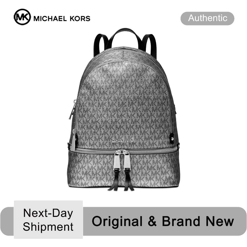Michael Kors Metallic Signature Rhea Zip Backpack (Silver/Black) Luxury  Backpack For Women