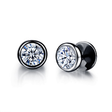 Cubic Zirconia Round Stud Earrings Classical Stainless Steel Rock Punk Style Jewelry For Unisex Women Men 2 Colors