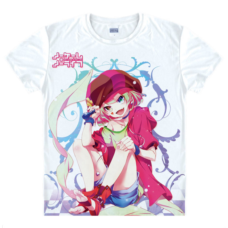No Game No Life T-Shirt Nogemu Noraifu Shirt heat-transferred T-shirts anime Fan costume t-shirts mens Anime Cosplay Anime a