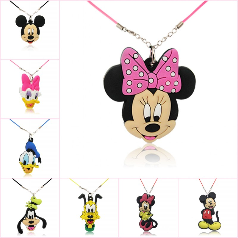 1pcs Mickey Kawaii Cartoon PVC Charm Pendant Necklace Minnie Choker Rope Chain Fashion Accessories Kid Birthday Gift(China)