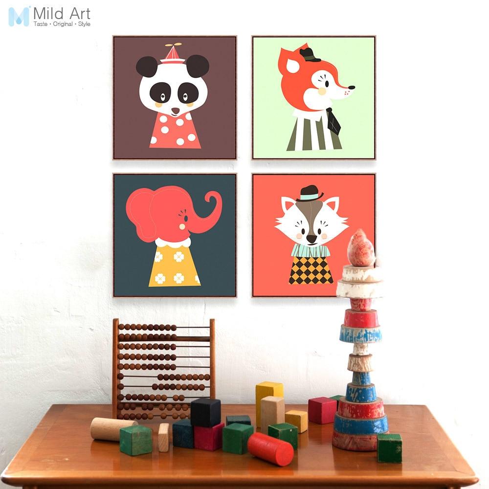 Kawaii värvilised beebloomad Panda kassi elevant plakati printimine - Kodu kaunistus