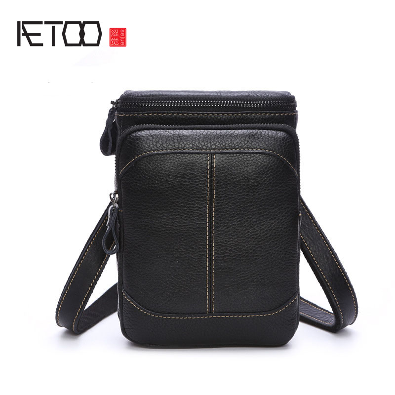 AETOO Men's pockets of the first layer of leather leather multi-functional mini diagonal cross-package shoulder casual package p aetoo europe and the united states first layer of oil wax leather men s handbag diagonal cross a4 package multi functional compu