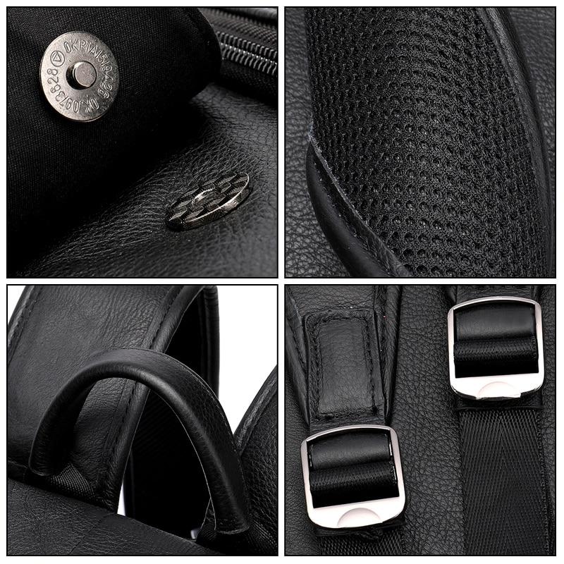 MVA мужской рюкзак из натуральной кожи, винтажные дорожные сумки, мужская деловая сумка для ноутбука, мужская сумка из воловьей кожи, черные сумки на плечо 6115 - 6