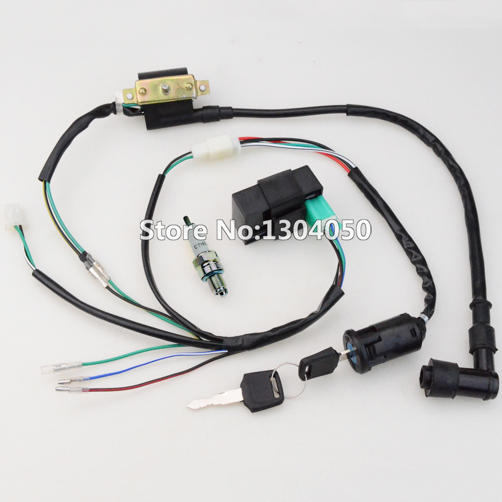 hight resolution of 50cc 70cc 90cc 110cc 125cc cdi ignition coil c7hsa spark plug wire harness wiring set atv electric quad fre shipping in motorbike ingition from automobiles