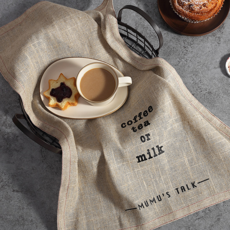 US $6 78 |Japanese Style Zakka Simple Linen Cotton Table Napkins Tea Towel  English Letters Dishcloth Home Kitchen Napkin Mat-in Table Napkins from