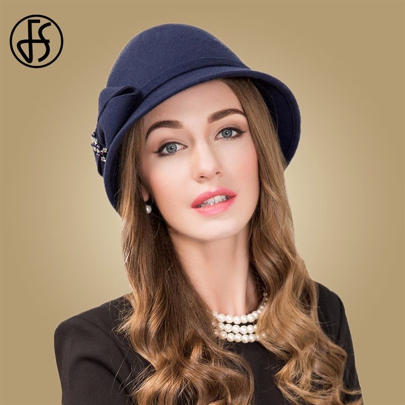 17627094 FS Royal Hat For Women Winter Navy Blue Wool Fedora Bowler Felt Elegant  Bowknot Chapeau Ladies Party Church Vintage Cloche Hat