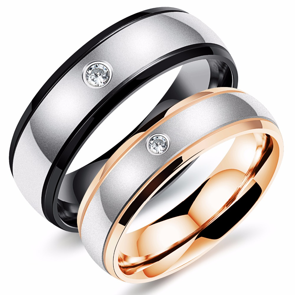 Free Custom Engraving Personalized Rose Gold Color & Black Plated Stainless  Steel Couple's Crystal Engagement Rings