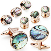 HAWSON Round Green Anallone Mother of Pearl Tuxedo 6 Studs Cufflinks Set For Men Jewelry Wedding Gift with Boxes