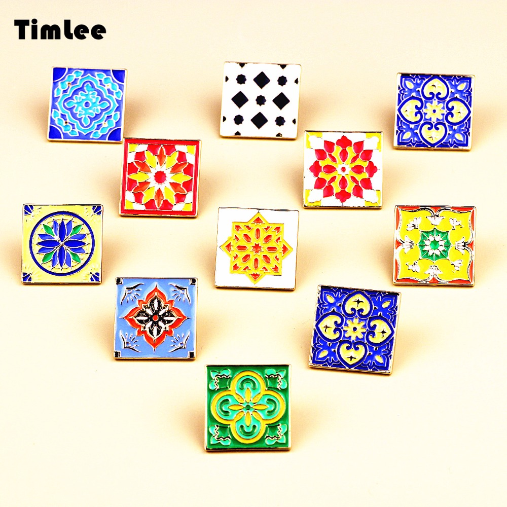 TimLee Official Store Timlee X243 Creative Tile Personality Joker Nnamel Square Design Metal Brooch Pins Gift Wholesale