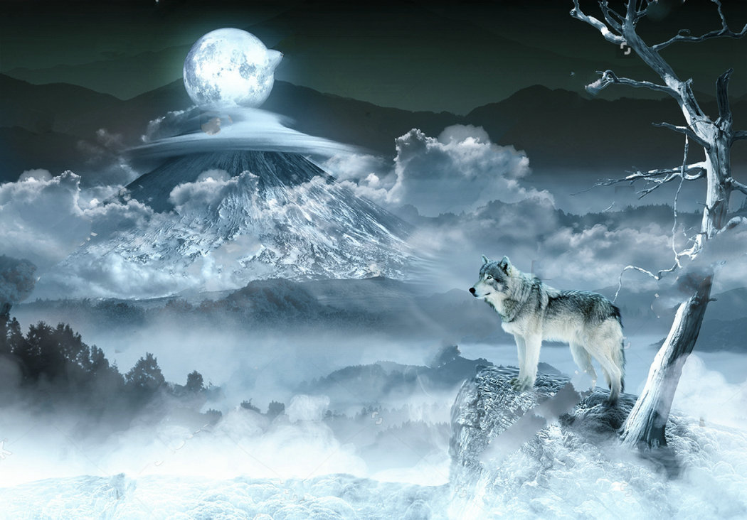 clouds full moon tree mountain wolf backdrops Vinyl cloth High quality Computer print wall background