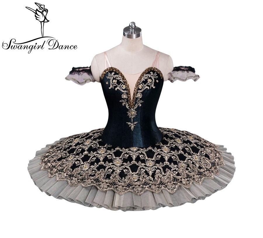 Mulheres de Inverno de viena Competiton Preto Ballet Profissional Tutu Crianças Traje Desempenho Boneca Panqueca Tutu Vestido BT9071