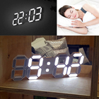 3D Large Modern Design Digital LED Wall Clock Timer 24/12 Black White EU US Plug