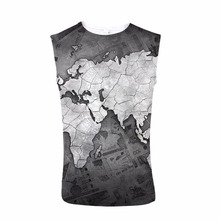 FORUDESIGNS Bodybuilding Tank Top 3D Map Design Print  Men Sleeveless Tee Bodybuilding Stringer Male Streetwear Crew Neck personality 3d round neck gorilla print tank top for men