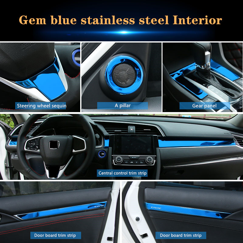 3PCS Blue 304 Steel Dashboard Console Cover Trim For Honda CIVIC 2016-2017 2018
