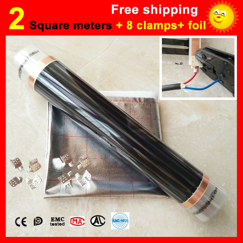 2 Square meter floor Heating film + 8 Clamps + Aluminum foil, AC220V infrared heating film 50cm x 4m electric heater for room