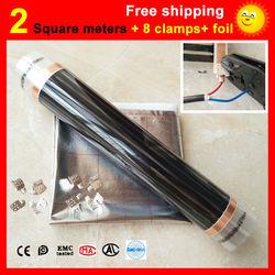 Película calefactora de suelo de 2 metros cuadrados + 8 abrazaderas + papel de aluminio, película calefactora infrarroja AC220V 50cm x 4m calentador eléctrico para habitación