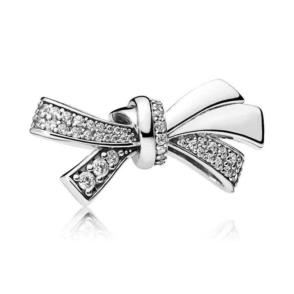 925 Silver Bead Charm Fit Pandora Bracelet Bangle Brilliant Bow Charm Crystal CZ Pave Crystal Lady DIY Jewelry