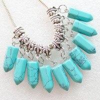20 Pcs Blue Turquoises Pendulum Pendant Fit European Bracelet Necklace F1091