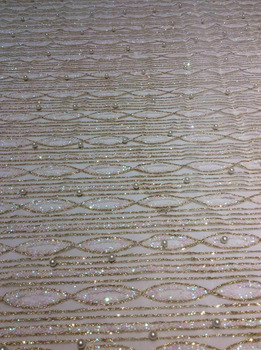 Gold African Sequin glued Glitter Mesh beads mesh tulle hand print glitter lace fabric for African wedding/evening dress/party