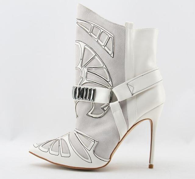 88602641292 Embroidery Suede Leather Pointed Toe Ankle Boots Stiletto Strappy Lady  Short Boots Fashion Lady High Heels Studded Boots Shoes