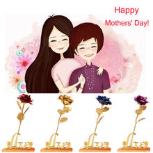 Fashion Solid 24K Gold Foil Plated Rose Flower Fake Valentine Mothers Day Gift With Box