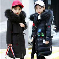 2018 зимняя куртка для девочек, 80% пуховые куртки, парка, пуховик с капюшоном для девочек, русские зимние пальто, Утепленная зимняя одежда