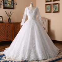 Lover Kiss Gorgeous Pearls Ball Gown Wedding Dresses With Long Sleeves 2018 Vestido De Novias Lace