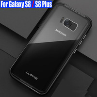 Case For Galaxy S8 Plus Luxury Original Luphie Aluminum Metal Frame 9H Glass Back Cover For