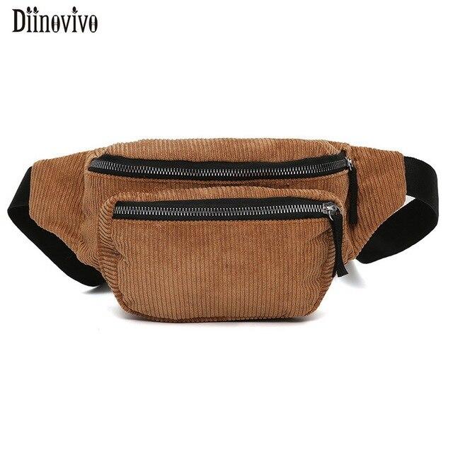 Diinovivo 2018 New Women Bag Fashionable Fanny Pack Solid Corduroy Chest Bag Letter Strap Female Handbags Waist Bag Belt DNV0743