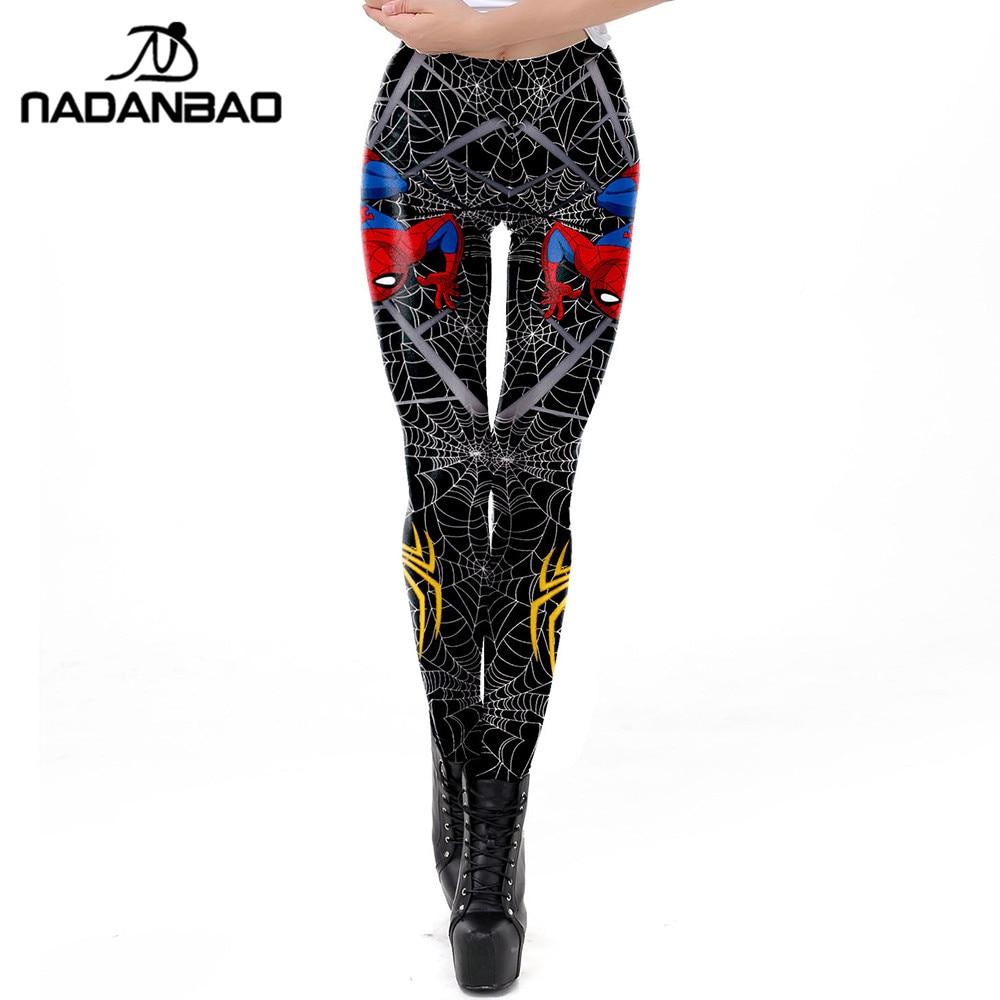 NADANBAO 2019 Spring Spiderman Leggings Women 3D Spider Web Printed Workout Legging Flexible Fitness Leggins Plus Size Legins