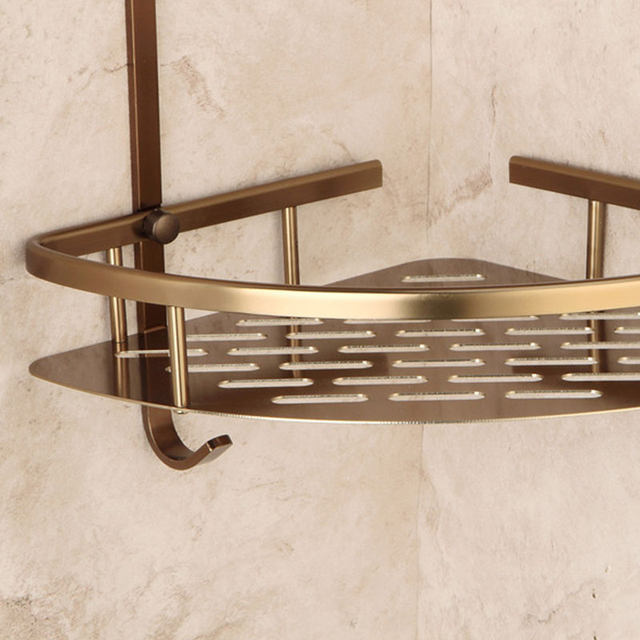 Online Shop 2-Tier Bathroom Shelves Antique Brass Material With Robe ...