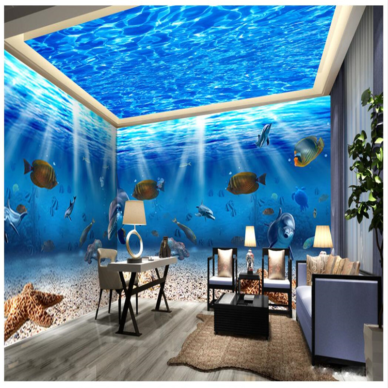 Living Room Ideas Beibehang Marine Life Fish Dolphin Photography Background