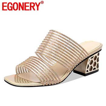 EGONERY woman shoes 2019 summer new fashion sexy open toe crystal woman slippers outside high square heel plus size ladies shoes