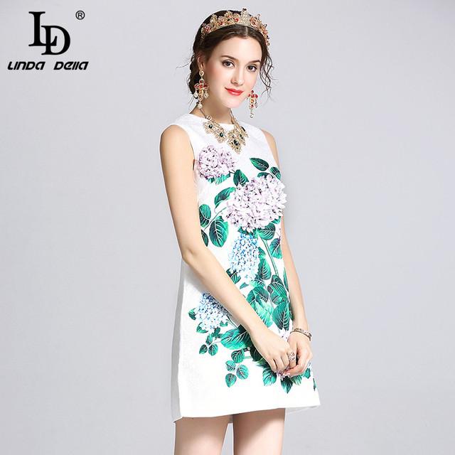 High Quality 2017 Runway Summer Dress Women's elegant Sleeveless vest Casual White Jacquard Floral Print Applique Short Dress