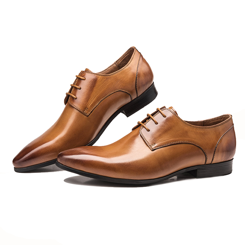 Luxury Italian Style Derby Mens Formal Dress Office Footwear Genuine Leather Pointed Toe Lace-up Man Wedding Party Shoes YMX456