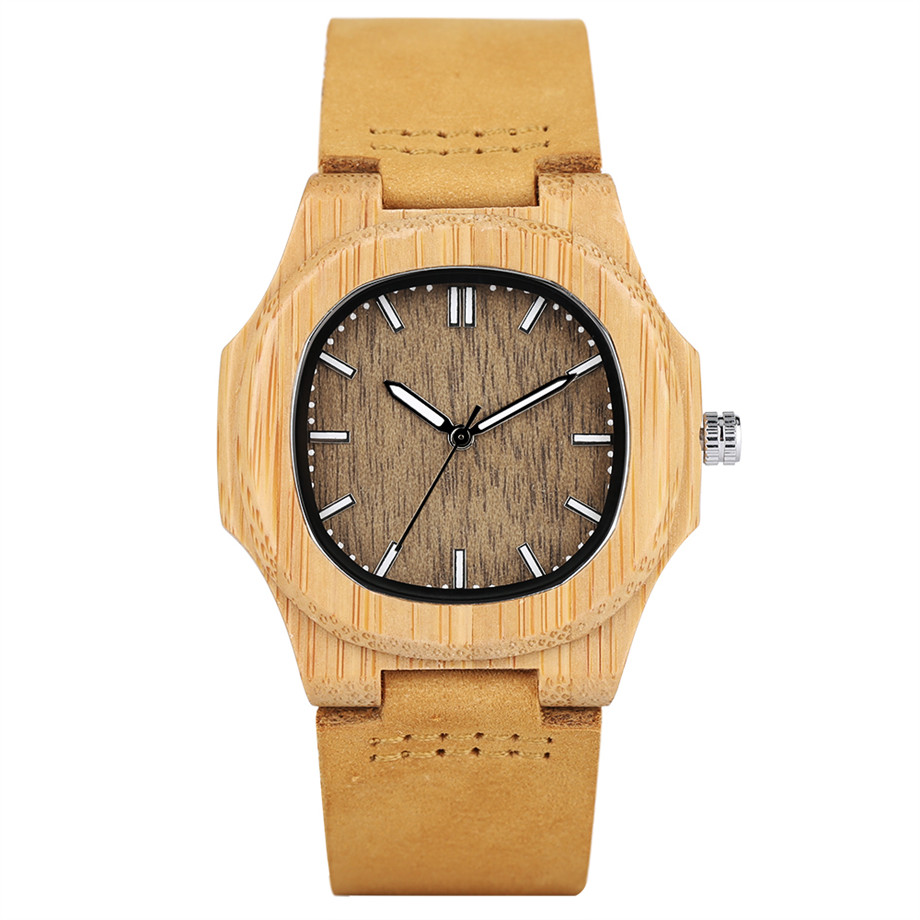 2017 New Arrival Men's Hand-made Quartz Watch Irregular Shape Genuine Leather Band Cool Male Wooden Wristwatches Best Gift hand made mens wooden bamboo quartz watch black genuine leather watchband simple unique modern wristwatch gift for male female