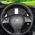 Чехол на руль из черной кожи  прошитый вручную  для Mitsubishi Outlander 2015