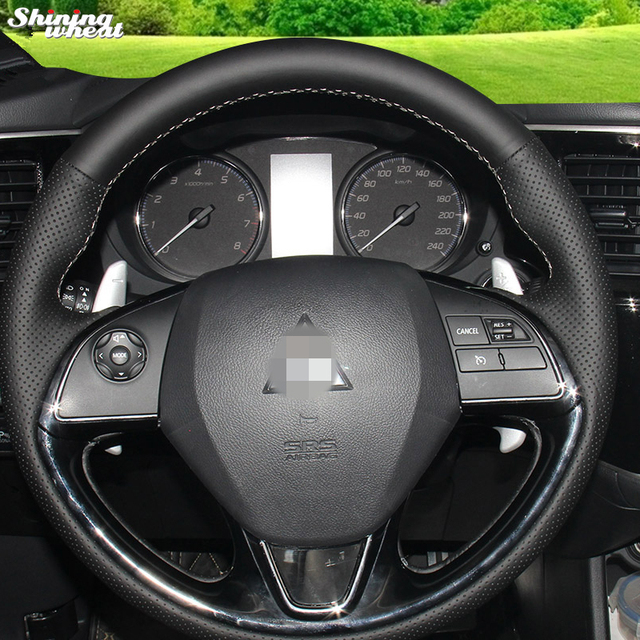 US $18 75 25% OFF|Shining wheat Hand stitched Black Leather Steering Wheel  Cover for Mitsubishi Outlander 2015-in Steering Covers from Automobiles &