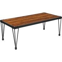 Деревенский Берл орехового дерева отделка зерна Кофе стол с черным металлические ножки
