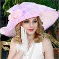 Romatic Lavanda Partido Decoración de La Boda De Madera Oído Sombreros Sombrero Grande Del Borde De Las Mujeres
