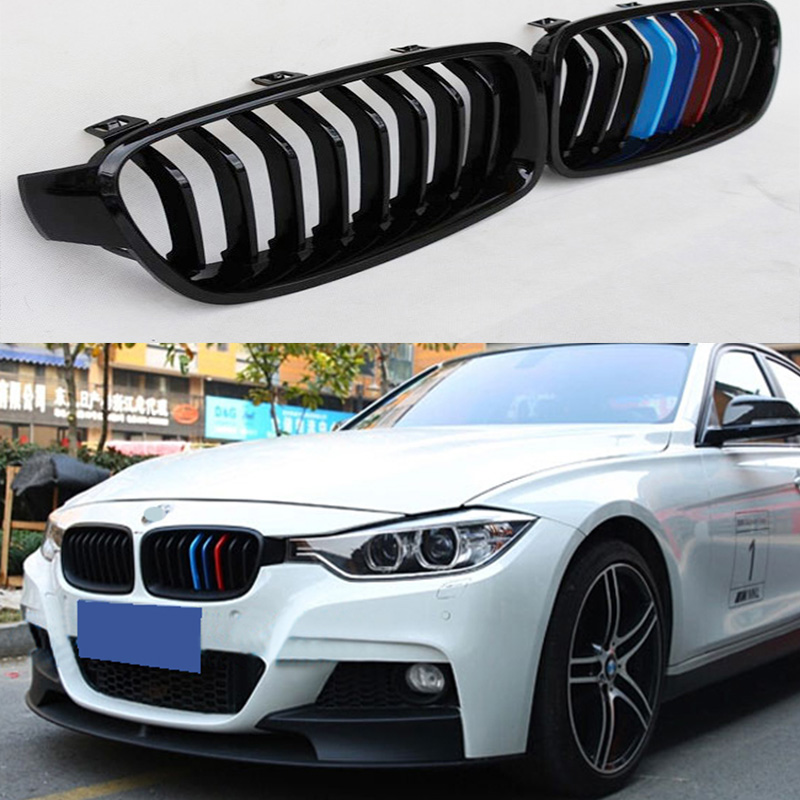 F30 M3 Style Glossy Black 3 color ABS Auto Car Front Bumper Mesh Grill Grille for BMW F30 2011-2016 4 series f32 f33 f36 front bumper grill gloss black abs car styling grille for bmw f80 m3 f82 f83 m4 replacement car part