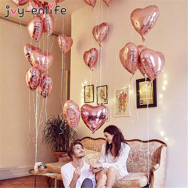 JOY-ENLIFE Champagne Star Balloons Foil Rose Gold Heart Balloon Wedding Party Decor Latex Ballon for Birthday Party Decorations