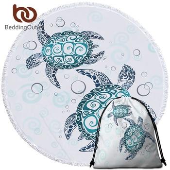 BeddingOutlet Turtles Round Beach Towel for Adults Tortoise Microfiber Large Bath Towel with Tassel Marine Animal Picnic Mat 150 1