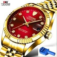 גברים שעון TEVISE 629 אוטומטי שעון עמיד למים עסקי תאריך מכאני גברים של שעונים יהלומי זוהר ידיים שעוני יד